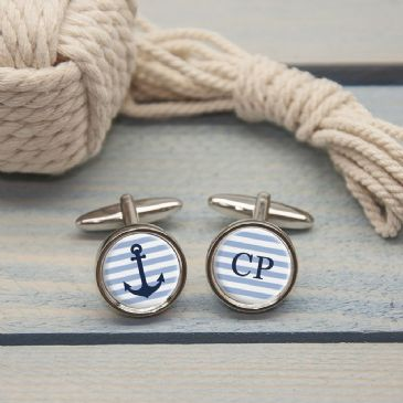 Personalised Nautical Anchor Cufflinks